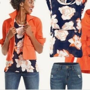 CAbi blossom tiered blouse orange navy blouse M